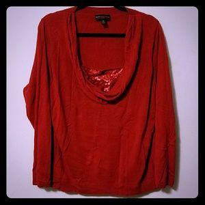 Beautiful Dana Buchman red sequin cowl sweater, 1X